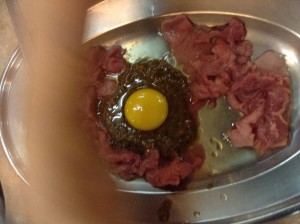 See the bright yolk on the marinade? BEEEFFFF