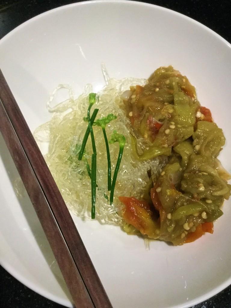 Vegan Dinner - Konyakky noodle and Thai Nam Prik Inspired Recipe.